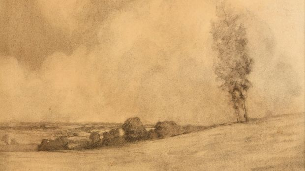 Landscape and Clouds by Paul Henry will be auctioned at the Morgan O'Driscoll sale ending June 8th (€10,000-€14,000)