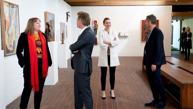 Danish prime minister Mette Frederiksen (second right) during a visit to the Louisiana Museum of Modern Art in Humlebaek. Photograph: Keld Navntoft/EPA