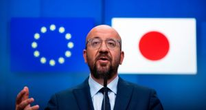 European Council president Charles Michel  during following an EU-Japan videoconference summit at the European Council headquarters in Brussels, on Tuesday. Photograph:  Francisco Seco/AFP via Getty Images