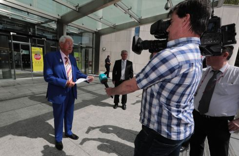 ACQUITTED: Sylvester 'Sil' Fox (87) leaving the Criminal Courts of Justice in Dublin after he was acquitted following a district court hearing. Photograph: Collins Courts