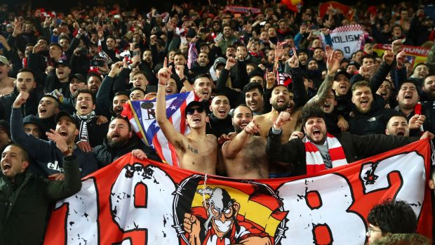 Atlético fans during their Champions League win over Liverpool on March 11th. The UK's death toll has now passed the capacity of Anfield. Photo: Julian Finney/Getty Images