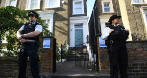 Police  outside Dominic Cummings's north London home on Thursday. Photograph: Victoria Jones/PA Wire