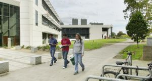 Students on the UCD campus before the pandemic. Photograph: Brenda Fitzsimons