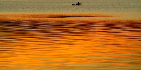 WATER COLOURS: A member of the public rows in Lower Aghada, Midleton, Co Cork. Photograph: James Crombie/Inpho
