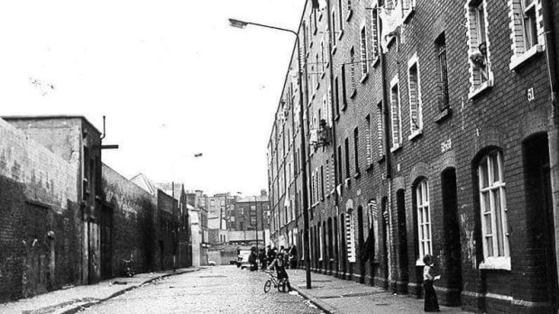 A view of Foley Street in the 1970s, shortly before the tenement buildings were pulled down. Photograph: North Inner City Folklore Project
