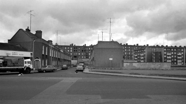The flats at Gloucester Place were demolished in 1982. Photograph: Dublin City Library and Archive.