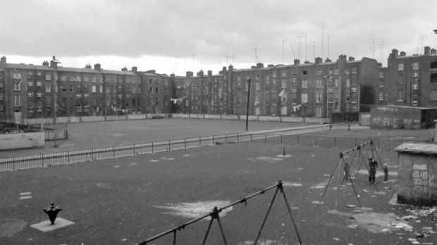 The Gloucester Diamond seven-a-side football pitch. To the left in the corner of Summerhill and Gardiner Street Tenements was where the turf depot had formerly been located. Photograph: Dublin City Library and Archive.