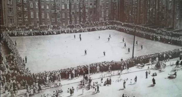 Huge crowds would regularly turn out to watch the seven-a-side tournaments at the Gloucester Diamond with residents watching from the windows. Photograph: North Inner City Folklore Project