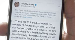 The message that Twitter has placed on a Trump tweet. Photograph: Getty