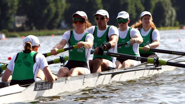 Shane Ryan (second right) rowing for Ireland during the 2009 World Rowing Championships in Poland. Photograph: John Gichigi/Getty