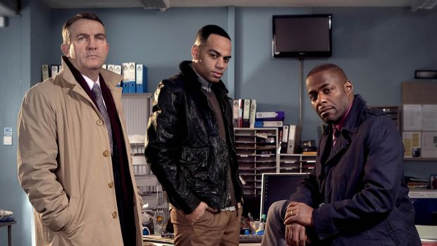 Bradley Walsh (left) with Ben Bailey Smith and Paterson Joseph in Law & Order UK