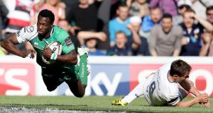 Niyi Adeolokun dives to score for Conacht during the 2012 Pro12 final. Photograph: Dan Sheridan/Inpho