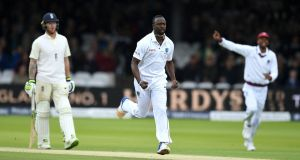 Kemar Roach celebrates dismissing Dawid Malan during the West Indies' 2017 tour of England. Photograph: Gareth Copley/Getty