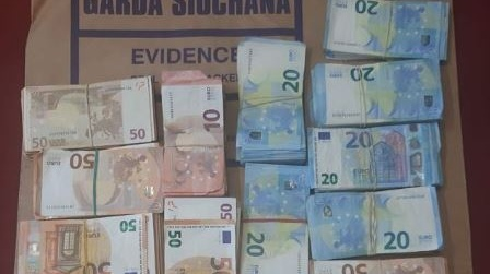 Some of the cash seized by gardaí during raids in Carlingford, Co Louth. Photograph: An Garda
