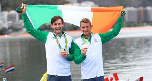 Paul O'Donovan and Gary O'Donovan celebrate winning silver in the lightweight men's double sculls final at the Rio Olympics in 2016. Photograph: Mike Egerton/PA Wire.