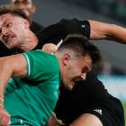 New Zealand's George Bridge is tackled by Ireland's Jacob Stockdale during the Rugby World Cup quarter-final in Tokyo last September. Photograph: Odd Andersen/AFP via Getty Images)
