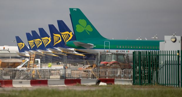 Aeroplanes grounded at Dublin airport during the Covid-19 pandemic. Photograph: Kenneth O Halloran