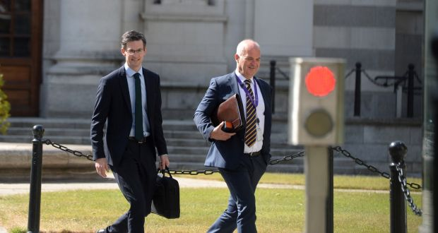 Chief medical officer Dr Tony Holohan and Dr Ronan Glynn leaving Government Buildings. Photograph: Dara Mac Dónaill