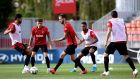 Atletico Madrid  players train on Tuesday at the  club's  complex in Majadahonda. Photograph: EPA