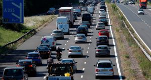 Traffic heads westward along the M3 near Eastleigh, Hampshire on Saturday as lockdown measures were eased in England. Photograph: Adrian Dennis/AFP via Getty Images