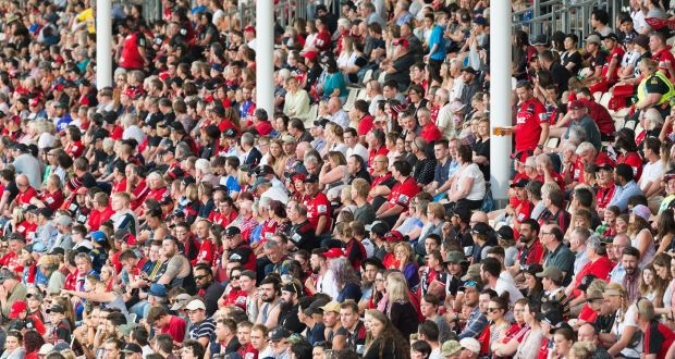 Crusaders fans at Orangetheory Stadium in February before the country locked down. Photo: Kai Schwoerer/Getty Images