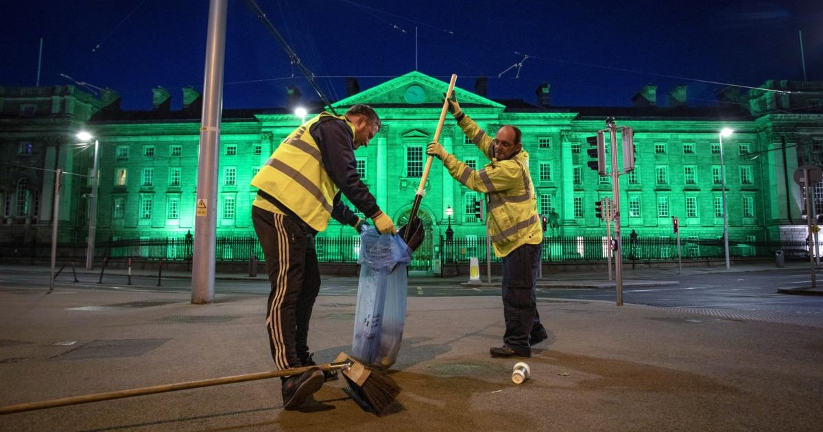James Farrell (left) and Brian Kiernan working a night shift to help keep the city centre litter-free. Photograph by Crispin Rodwell for the Irish Times