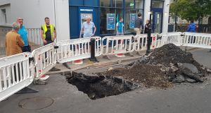 Part of Dalkey village in south Dublin was closed off on Tuesday night after a hole appeared in the road.