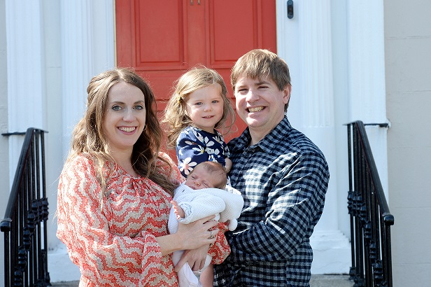 Lynne Andrews and Tom Lyons with their daughters Martha Jean (born 14th April) and Robyn (2). Photograph: Alan Betson/The Irish Times