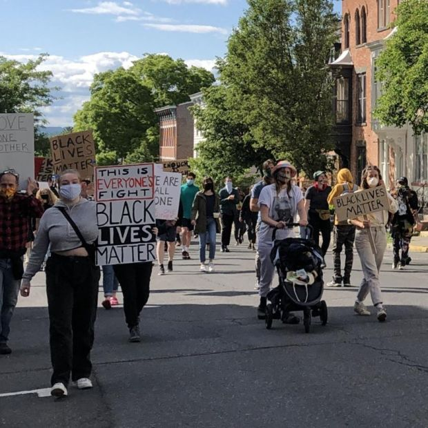 Niall O'Donnell attended a peaceful march in Hudson, New York, on Sunday