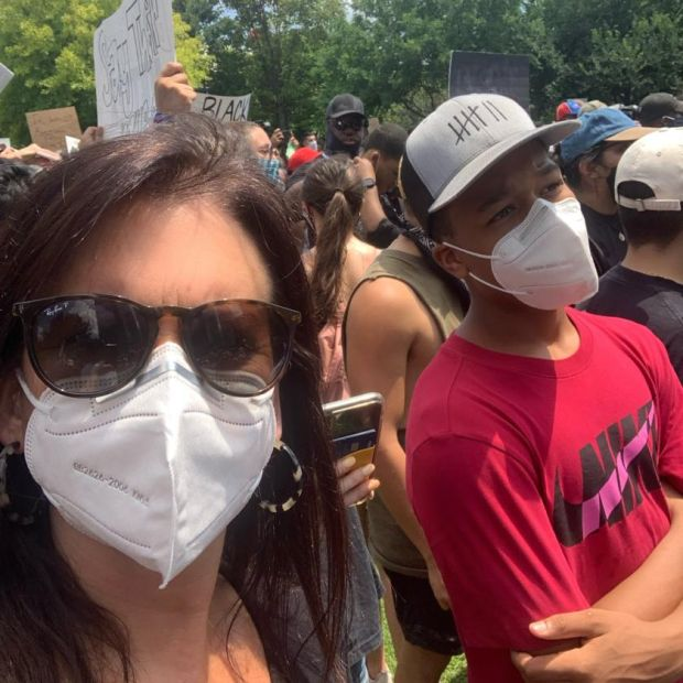 Debs Walker brought her family on a peaceful demonstration in Houston