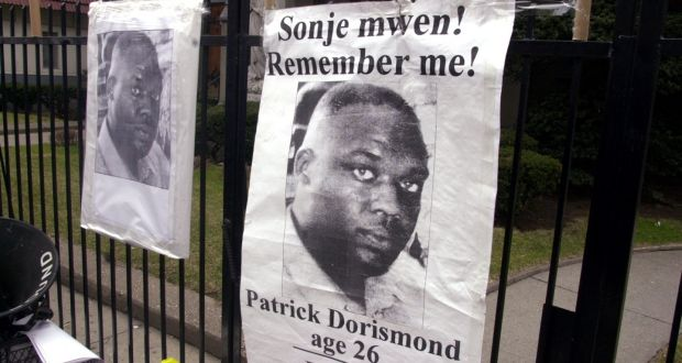 Posters of Patrick Dorismond, seen circa 2000. Dorismond was killed outside a bar in Manhattan.  Photograph: Budd Williams/NY Daily News Archive via Getty Images