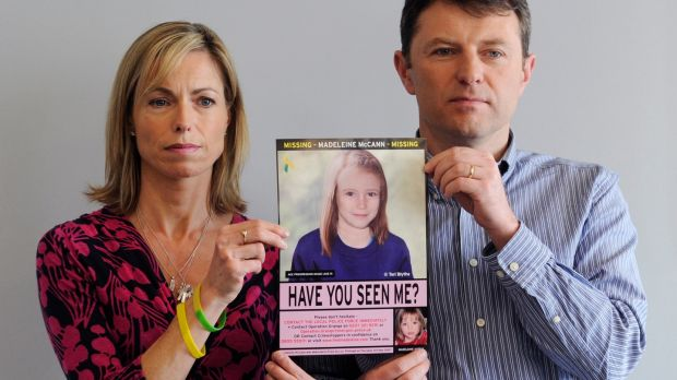 A 2012 photograph shows Kate and Gerry McCann holding an age-progressed police image of their daughter Madeleine during a news conference to mark the 5th anniversary of their daughter Madeleine's disappearance, in London. File photograph: Facundo Arrizabalaga/EPA