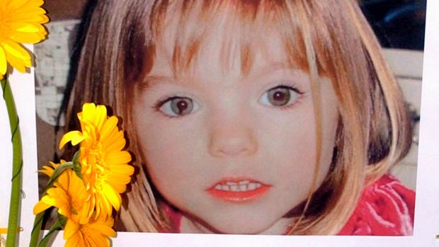 A poster of three-year-old Madeleine McCann, a British girl who went missing in 2007 while on holiday with her parents in Praia da Luz, in Lagos, Portugal. Photograph: Luis Forra/EPA