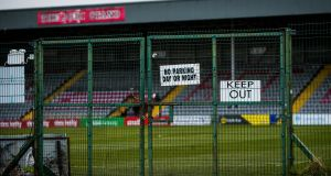 A view of Dalymount Park taken after the suspension of all Irish sport due to coronavirus. Photograph: Ryan Byrne/Inpho