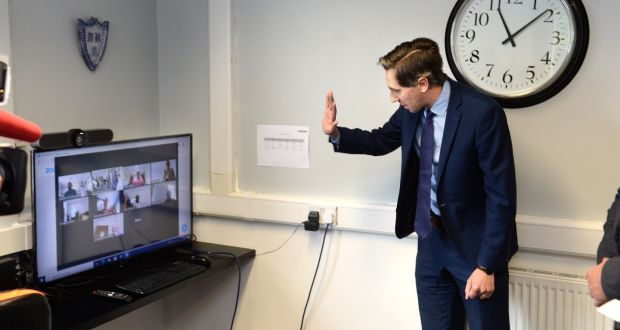 Minister for Health Simon Harris TD, visiting the National Council for the Blind of Ireland at its Iona Resource Centre, in Dublin on Wednesday. Photograph: Dara Mac Dónaill/The Irish Times