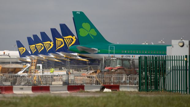 Airplanes grounded at Dublin Airport in March. Photograph: Kenneth O'Halloran