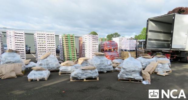 An estimated 600 kilos of herbal cannabis was recovered from among a cover load of vegetables from a lorry stopped in Templepatrick, Co Antrim in the early hours of Wednesday. Photograph:   National Crime Agency/PA