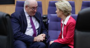 European commissioner for trade Phil Hogan and European Commission president Ursula Von Der Leyen. Photograph: Stephanie Lecocq/EPA