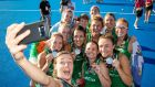 Ireland players celebrate with their silver medals after the Women's World Cup final against the Netherlands at Lee Valley Stadium in London in August 2018. Photograph:  Morgan Treacy/Inpho