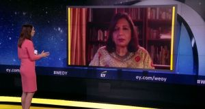 The year's ceremony is the first to be held online as the formal event, usually held in Monaco, had to be cancelled as a result of lockdown restrictions imposed across the globe. Pictured on screen is Dr Kiran Mazumdar-Shaw.