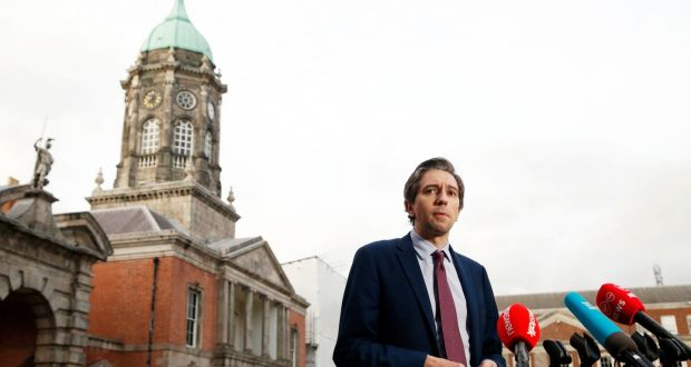 Minister for Health Simon Harris speaking to the media after the cabinet meeting at Dublin Castle. Photograph: Leon Farrell/Photocall Ireland/PA Wire