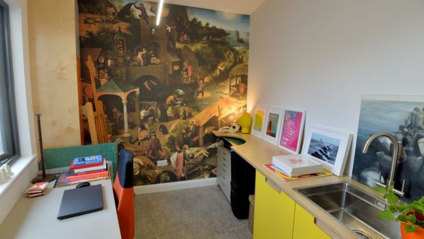 The studio complete with mural. Photograph: Alan Betson/The Irish Times