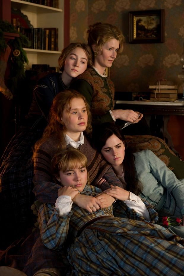 Saoirse Ronan, Laura Dern, Emma Watson, Florence Pugh and Eliza Scanlen in Greta Gerwig's Little Women. The full cast of the 2019 film came together for the audiobook version. Photograph: Wilson Webb/Sony Pictures via AP