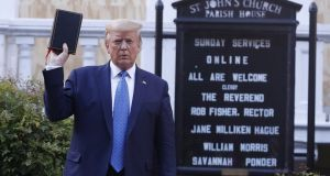 President Donald   Trump's  photo opportunity in front of the boarded up windows of St John's Church in Washington DC was another of his big lies. Photograph:  Shawn Thew/EPA