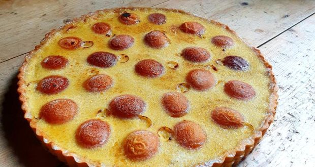 Robbie McCauley's apricot and elderflower custard tart.