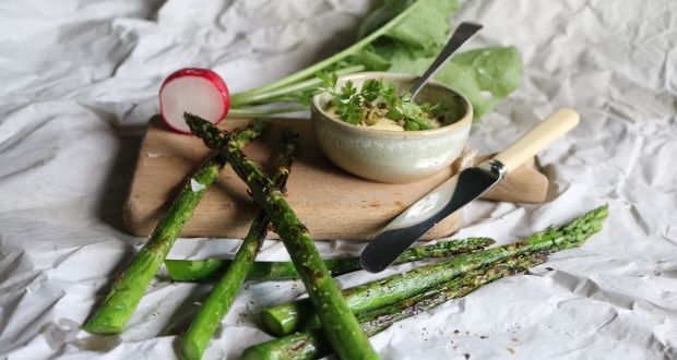 Robbie Krawczyk's Grilled asparagus with anchovy mayonnaise.