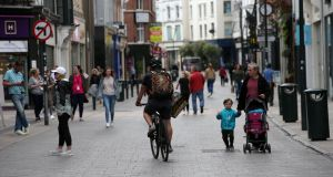 Grafton Street in Dublin on Friday, as further coronavirus restrictions begin to be eased in Ireland. Photograph: Laura Hutton/The Irish Times