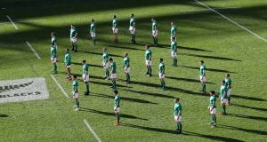 The Ireland team face the Haka in a shape of eight in memory of Anthony Foley at Soldier Field. See question seven. Photograph: Inpho