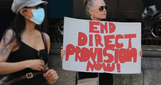 A small protest last month calling for the end of direct provision gathered outside the Dáil. Photograph: Nick Bradshaw