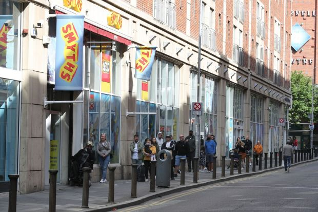 Shopping reopens: queueing at Smyths on Jervis Street. Photograph: Nick Bradshaw